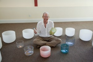 Rhys Thomas and crystal bowls